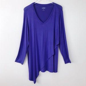 LOGO Lori Goldstein Purple V-Neck Knit Top